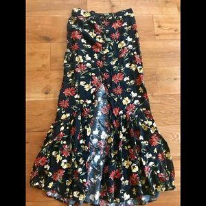 Front Slit High Waisted Floral Maxi Skirt